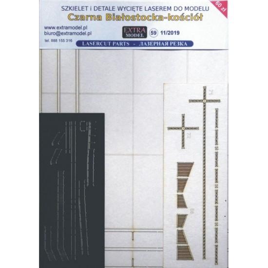 Wręgi i detale wycięte laserem do modelu kościoła w Czarnej Białostockiej
