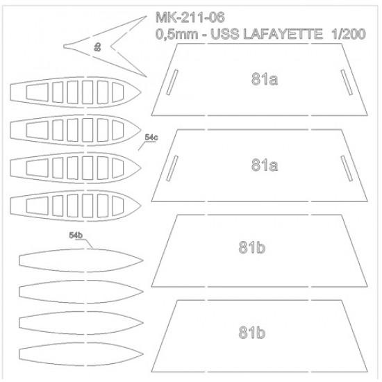 USS LAFAYETTE 1863  1/200 -  wręgi wycinane laserowo