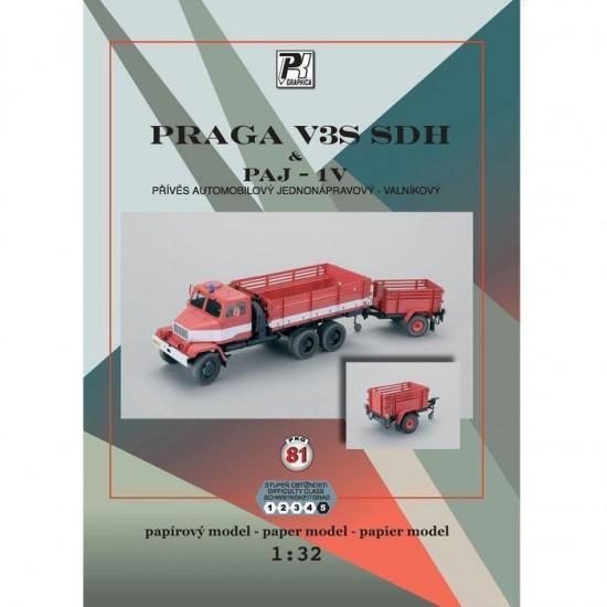 Praga V3s SDH & przyczepą  PAJ-1V