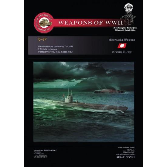 DKM U-boot Typ VIIB - (U-47 Gunther Prien) +  szkielet wyciety laserem
