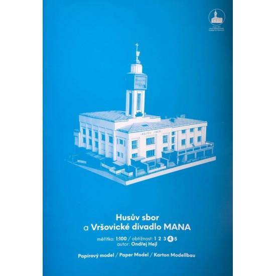 Budynek z kościołem husyckim i teatrem MANA (dzielnica praska Vršovice, 1930)