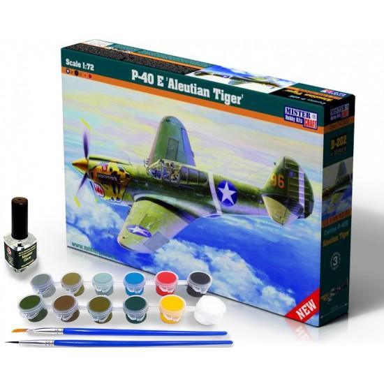 P-40E Aleutian Tiger START SET - zestaw z farbami, klejem i pędzlami.