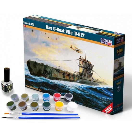 Das U-Boat VIIC U-617 START SET - zestaw z farbami, klejem i pędzlami.