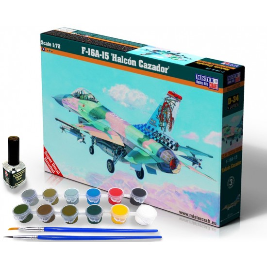 F-16A Block15 Halcon Cazador START SET - zestaw z farbami, klejem i pędzlami.