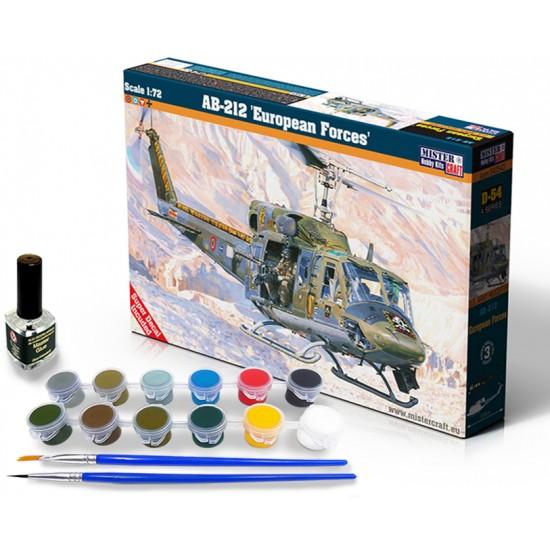AB-212 EUROPEAN FORCES 1:72 START SET - zestaw z farbami, klejem i pędzlami.