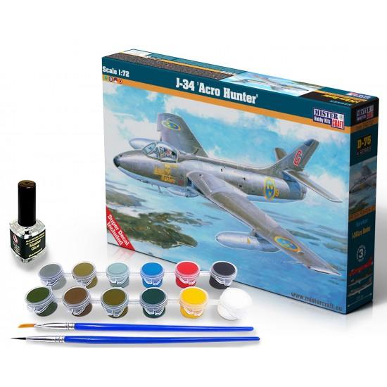 J-34 Acro Hunter START SET - zestaw z farbami, klejem i pędzlami.