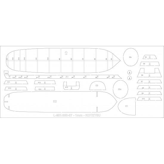 KOTETSU 1869 1/350 -  wręgi wycinane laserowo