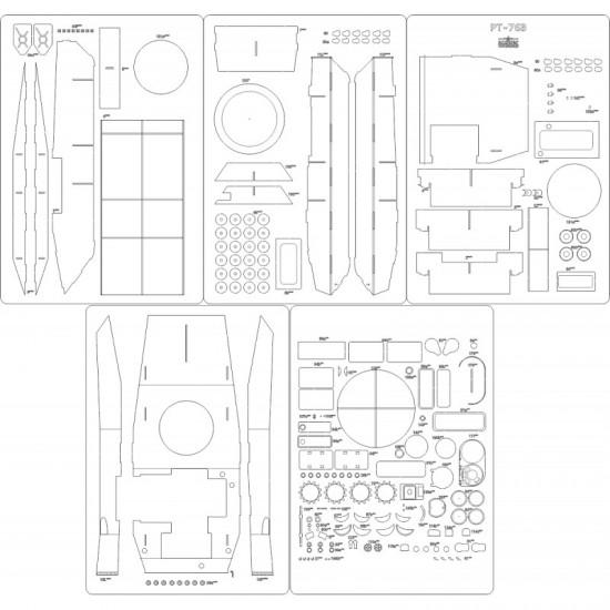 PT-76B  - szkielet, detale,
