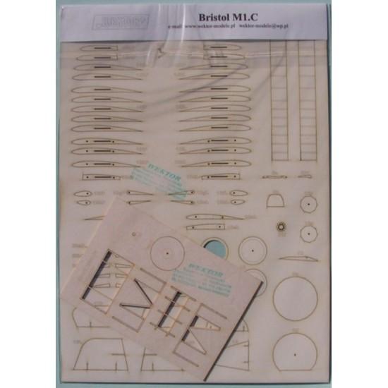 Bristol M1.C - szkielet i detale  wycięte laserem