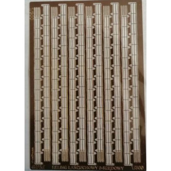 Fototrawione  relingi 3 rzędowe łańcuchowe  1/300 - 96 cm