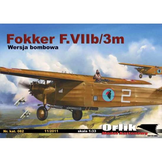 082. Samolot bombowy  Fokker F.VIIb/3m  + wręgi wycinane laserowo