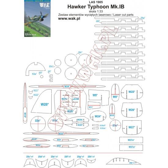 Hawker Typhoon Mk.IB - laserowo wycinane części
