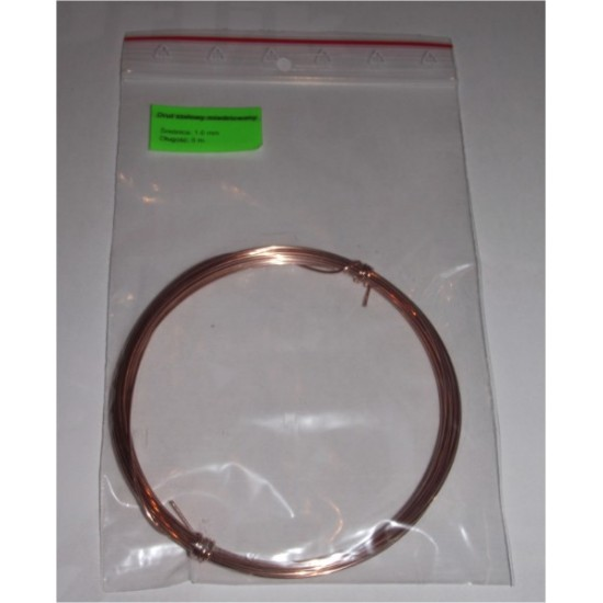 Drut stalowy miedziowany okrągły 1 mm, 5metrów